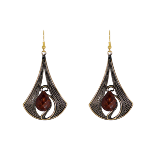 Metallic Brown Dangler And Drop Earrings For Girls