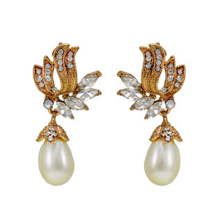 Gold Tone Fashion Earrings With Dangling Pearl