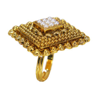 Square Shape Traditional Ring Studded With Pearl For Women, adjustable