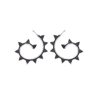 Silver Oxidized Fashion Earrings In Curve Design For Women