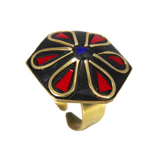 Red And Black Stone Fashion Ring For Women, adjustable