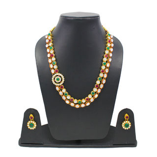Kundan Necklace set with Red And Green Gemstone For Women