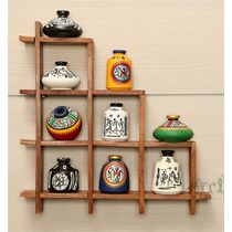 9 Hand Painted Warli Miniature Pots with Sheesham Wood Wall Decor Frame 9S, wooden, 13x13x2