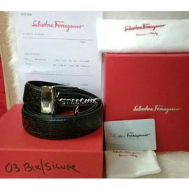 Stylish Salvatore Ferragamo Silver Buckle Black Leather Belt for Men