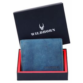 WILDHORN New HIGH Quality RFID Protected Men' S Genuine Leather Wallet/RFID Blocking Wallet for Men (Blue Hunter), blue