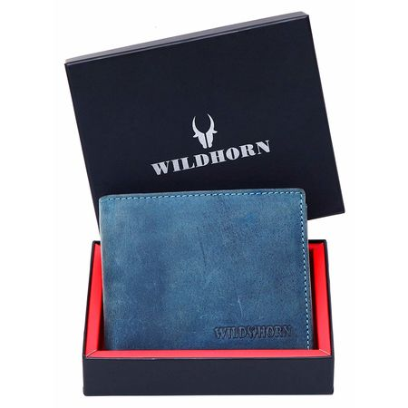 WILDHORN New HIGH Quality RFID Protected Men' S Genuine Leather Wallet/RFID Blocking Wallet for Men (Blue Hunter), blue
