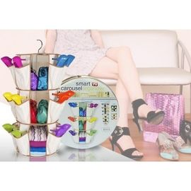 Smart Shoe Carousel Foldable with 24 Pockets 3 Shelf Organizers Shoes toys clothes cosmetic under garments Rack