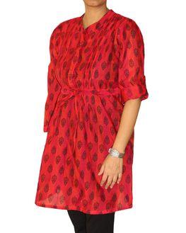 Red Maternity Short Kurti with booties, medium
