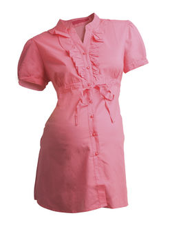 Maternity Formal Wear - Short Sleeve Maternity Formal Shirt in soft cotton voil, coral, large
