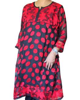 Beautiful Red & Black polka dot 2 piece Maternity Kurta, large