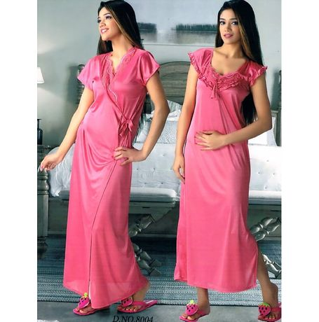 2 Piece Traditional India Nighty - JKHNS - 2P- 8004, pink
