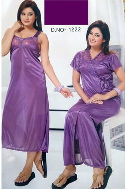 2 piece lace nighty with transparent front JKSETH-2P-FrontTransparent-1222, purple, free size  30-36  inch, nighty with overcoat gown