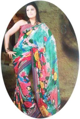 Saree - Designer Faux Chiffon Flower Print - JKSAREERC1051