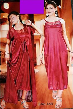 2 piece nighty with transparent lace front - JKSETH-2P-1205, lavender, free size  32-36  inch, nighty with overcoat gown