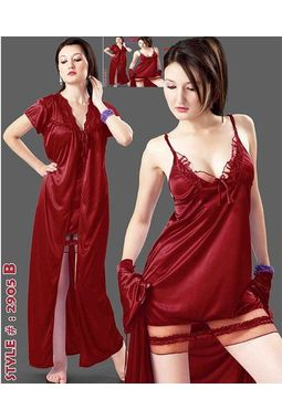2 Piece Hot n Sexy Honeymoon Nighty - JKHNS-2P- 2905, wine red love color, free  30-36 bust  30-34 waist  30-36 hips