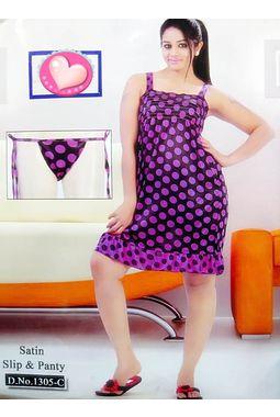 Sexy Satin Babydoll - JKDELJAICH-Baby, 1305 c - polkastraps-purple, free  30-36 bust  30-34 waist  30-36 hips