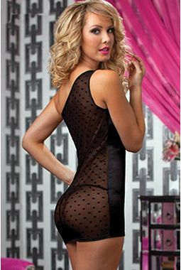 Transparent back nightwear dress - Chemise Lingerie - JKDLLC2775, black, free  30-34 bust  30-34 waist  30-34 hips , 1 thong x 1 lingerie