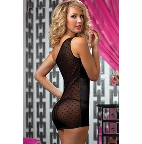 Transparent back nightwear dress - Chemise Lingerie - JKDLLC2775, black, free  30-34 bust  30-34 waist  30-34 hips , 1 thong x 1 lingerie