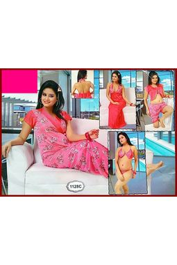 6 piece nighty (premium) nikker nighty honeymoon valentine true love - JKSETH6P - 1128, pink, free size  32-36  inch, 6 piece lovely nighty set