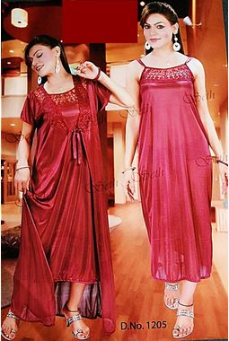 2 piece nighty with transparent lace front - JKSETH-2P-1205, winered, free size  32-36  inch, nighty with overcoat gown
