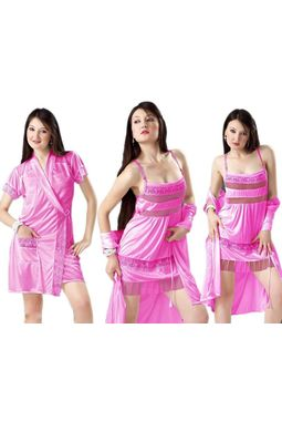 2 piece nighty - My Love robe nighty - JKHNS - 2P - 2909, pink