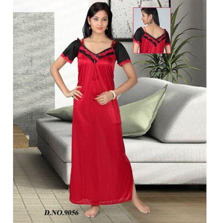 One piece satin nighty - JKHNS-1P- 9056, catalog red