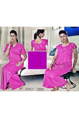 2 piece premium nighty frilled - JKSETH-2P-2009, ranipink, free size  32-36  inch, nighty with overcoat gown