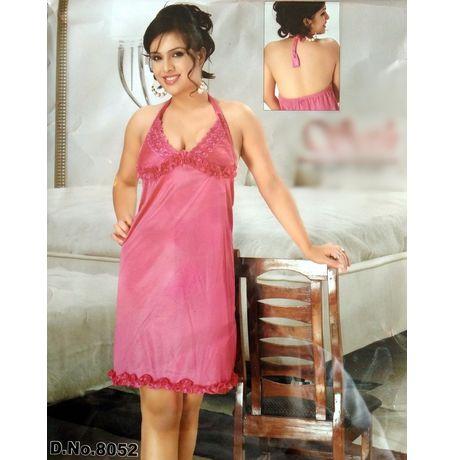 Halter neck lovely babydoll dress - JKSETH-1P-8052, rani, free size  28-34  inch, babydoll dress with free panty