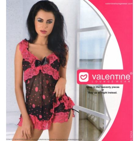 Honeymoon Babydoll Nighty - Full Transparent with lace work - women sleepwear - JKVAL - F - 0395, black and pink