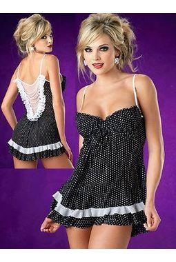 Kamuk Dots Lovely Lace Babydoll - JKKLIFE - 4117, black, free  30-34 bust  30-34 waist  30-34 hips