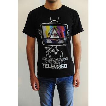 Men's round neck graphic digital print black regular fit art t-shirt - The revolution will not be televised, m