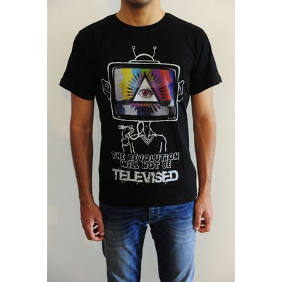 Men s round neck graphic digital print black regular fit art t-shirt - The revolution will not be televised