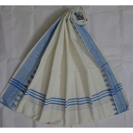 OSS495: White Cotton Dupatta online shopping.