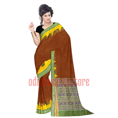 OSS5032: Deep Brown handloom Silk saree of India in cheap price