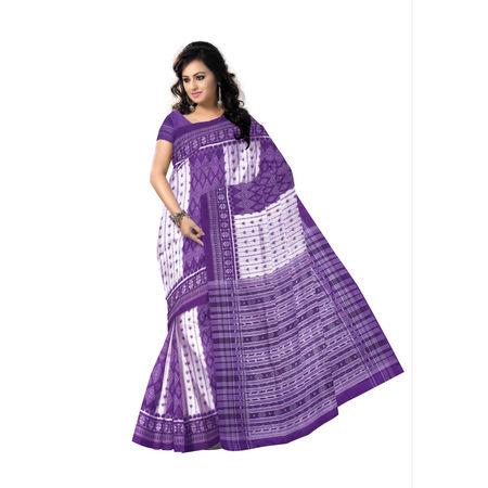 OSS7453: Gray Ikat design hand woven cotton saree of Samabalpur