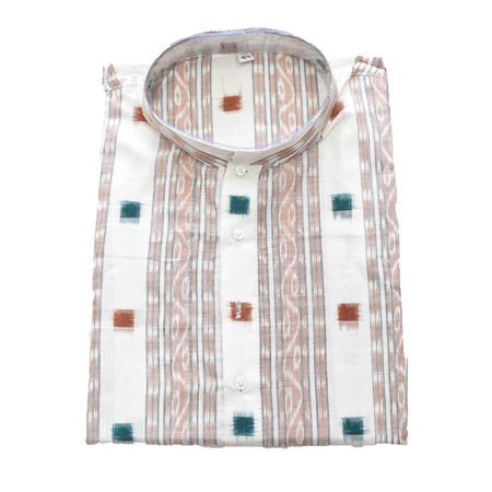 White With Multi Sambalpuri Handloom cotton Kurta for Men made in Odisha Sambalpur AJ001780
