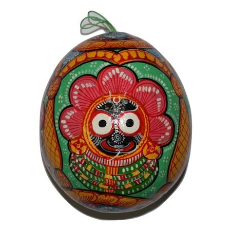 Handmade Pattachitra Painting on Coconut Shell Crafts AJ001283
