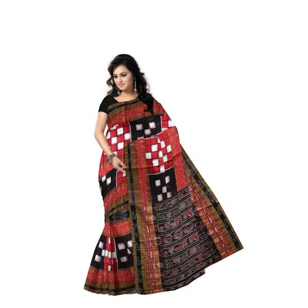 Red with Black Handloom Bichitrapuri Cotton saree of Odisha Sambalpur AJ001215