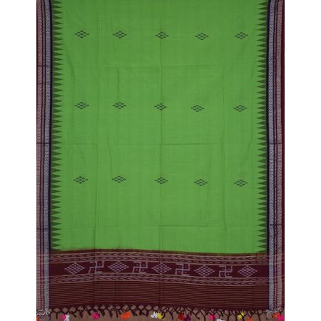 OSS306: Green Ikat Stole with multicolor pompom
