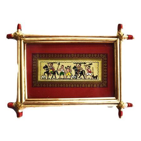 Patachitra Frame Painting Of Village Life Pipili, Odisha AJ001687
