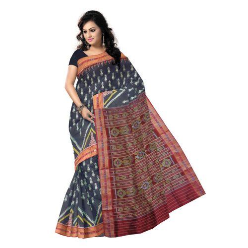 OSS296: Black color Alpana and doll design handloom sambalpuri Silk saree for party wear