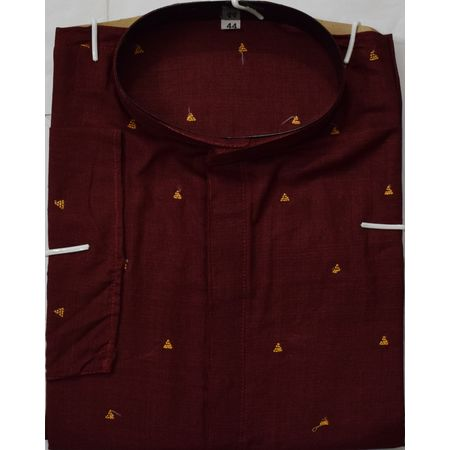 OSS605: Butti design maroon colour cotton handwoven kurta for Men