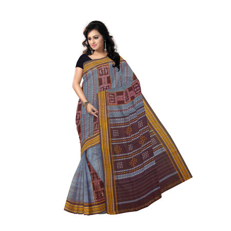 OSS7304: Charcoal Gray colour ethnic look handmade cotton sari