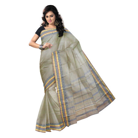 OSSWB9020: Light Grey handwoven cotton saree