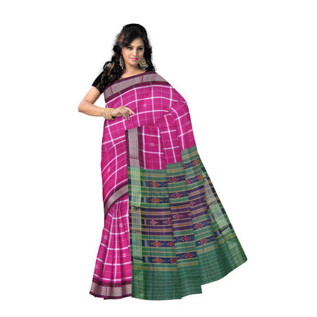 OSS9139: Pink with check design cotton saree of Sambalpur