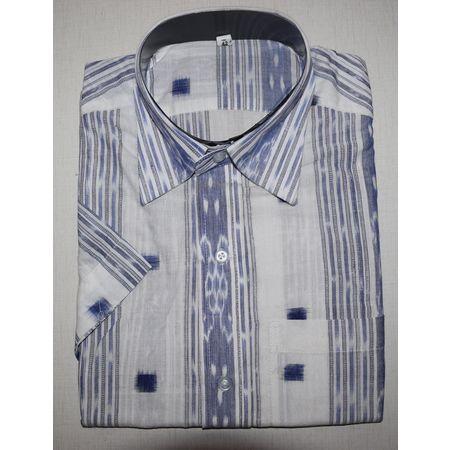Handloom Sambalpuri Cotton Half Shirt in White, blue AJ001194 (Size-42)