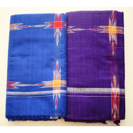 Handmade Blue & Violet Color Check Design Handloom Lungi Made In Nuapatna, Odisha AJ001383