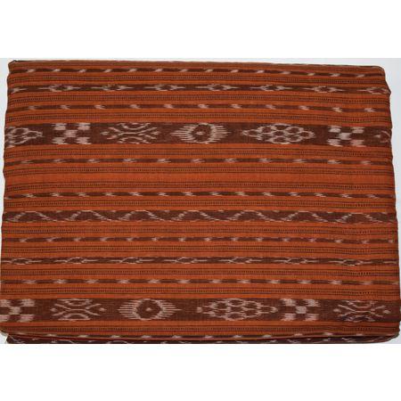 OSS6214: Brown Cotton Ikat design Running Material for Men and Women Garments