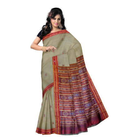 OSS857: Deep Tusser color Traditional Handloom Silk Saree.