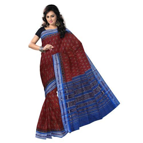 OSS2051: Maroon color Cotton sari made in odisha for several festivals